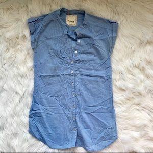Denim tunic button down
